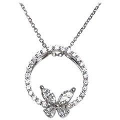 0.53 Carat Diamond Butterfly Loop Pendant in 18 Karat White Gold