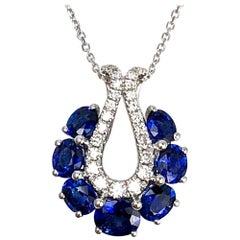 2.01 Carat Oval Cut Blue Sapphire and Diamond Pendant in 18 Karat White Gold