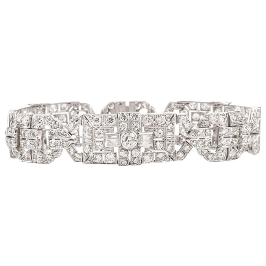Antique Art Deco Diamond Platinum Filigree Bracelet
