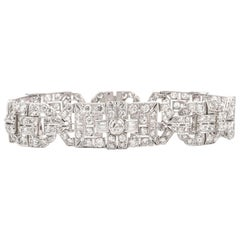 Antique Art Deco Diamond Platinum Filigree Bracelet