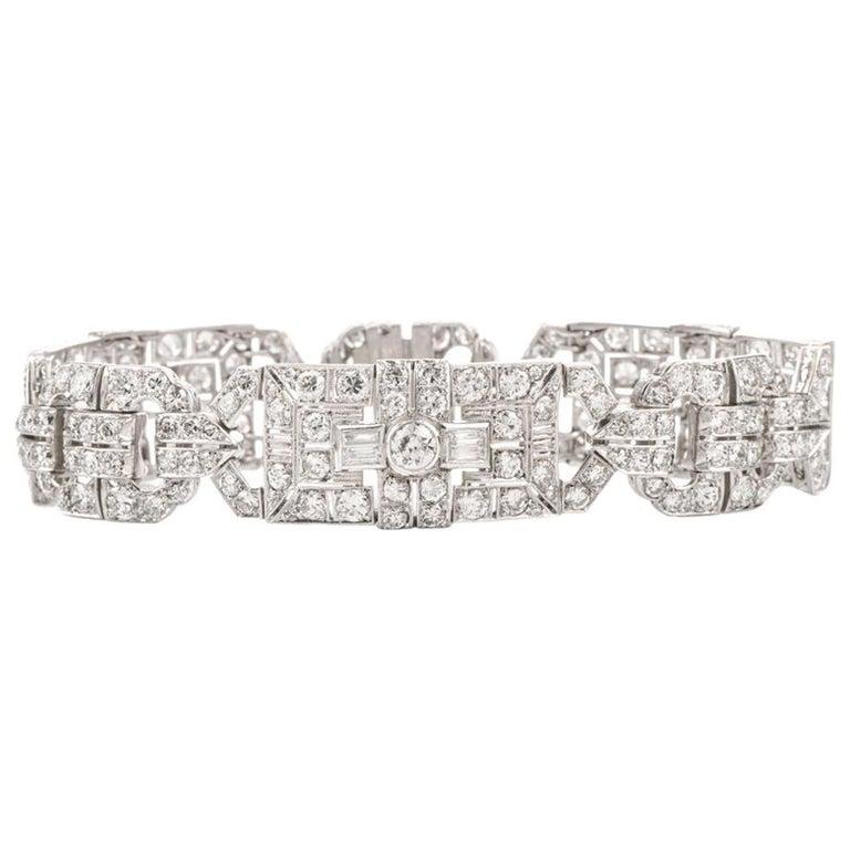 Antique Art Deco Diamond Platinum Filigree Bracelet For Sale