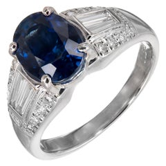 3.19 Carat Cornflower Blue Sapphire Diamond Platinum Engagement Ring