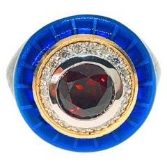 Berca 2.65 Kt Red Garnet White Diamond Blue Enamel 18Kt Gold Brass Cocktail Ring