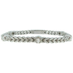 Pre-Owned 1.25 Carat Diamond Line Bracelet, White Gold Franco Link