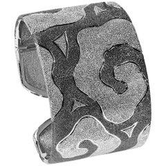 Alex Soldier Sterling Silver Platinum Textured Handmade Hinged Cuff Bracelet