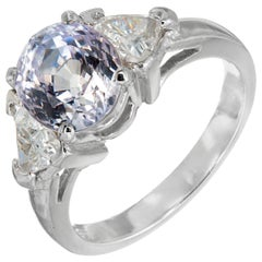 GIA Certified 3.91 Carat Sapphire Diamond Three-Stone Engagement Ring