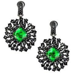 Alex Soldier Swarovski Crystal Spinel Blackened Sterling Silver Drop Earrings