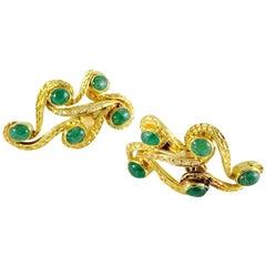18 Karat Cabochon Emerald and Diamond Swirl Clip Earrings