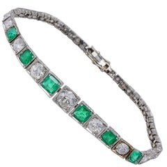 Art Deco 2.10 Carat Colombian Emerald 1.65 Carat Diamond Rare Platinum Bracelet