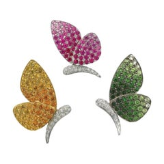 18K Yellow & White Gold Fancy Sapphire, Tsavorite and Diamond Butterfly Pins