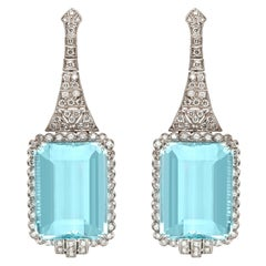 Aquamarine Diamond Earrings
