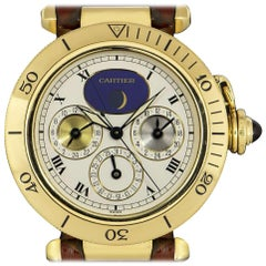 Cartier Pasha Moonphase Gents 18 Karat Yellow Gold White Dial Automatic Watch