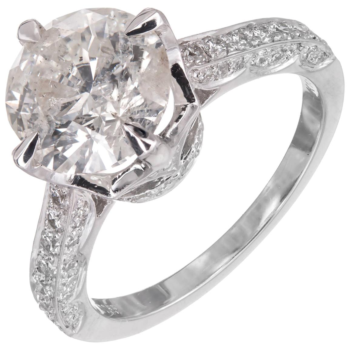 2.51 Carat Round Diamond Gold Solitaire Engagement Ring