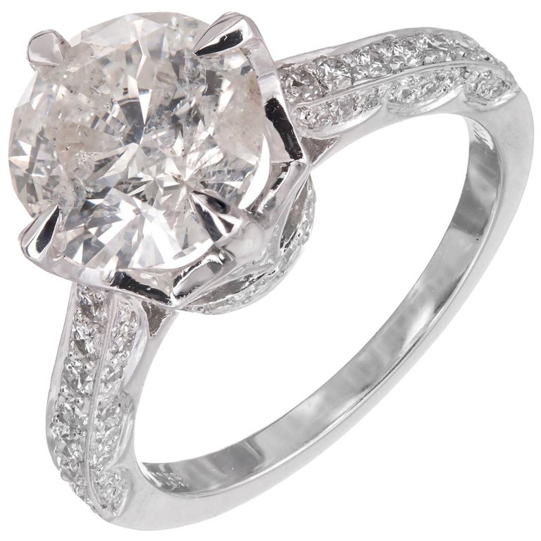 2.51 Carat Round Diamond Gold Solitaire Engagement Ring For Sale