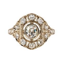 0.52 Carat Old European Cut Diamond Ring Set in 18 Karat Natural White Gold