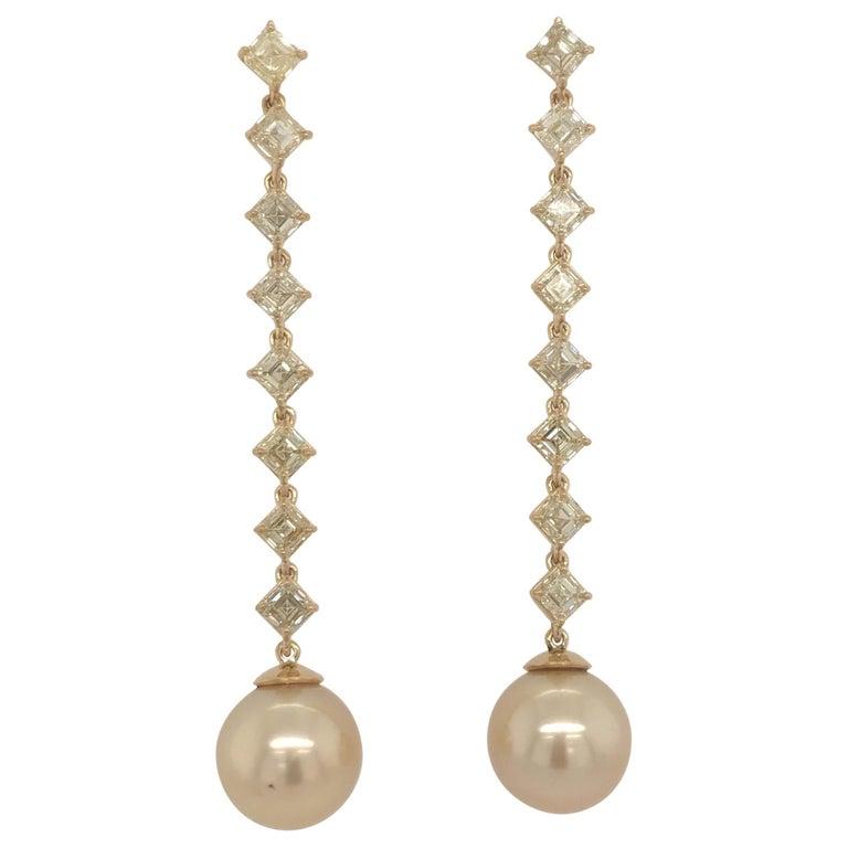 Fancy Light Yellow Diamond South Sea Drop Earrings 6.14 Carat VVS2-VS1 22 Karat For Sale