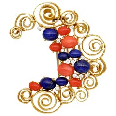 Modern Coral Lapis and Diamond 18 Karat Gold Crescent Brooch