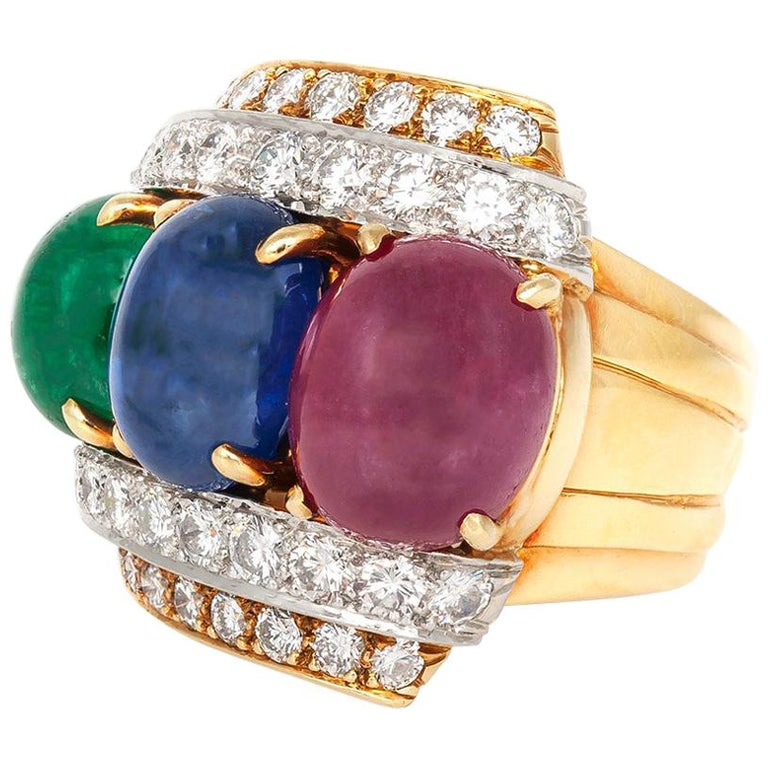David Webb Sapphire Ruby Emerald Diamond Ring For Sale
