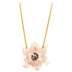 Buccellati 18 Karat Gold Carved Rose Quartz Sapphire Flower Brooch Necklace