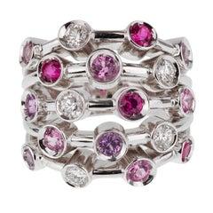 Chanel Pink Sapphire Diamond White Gold Ring