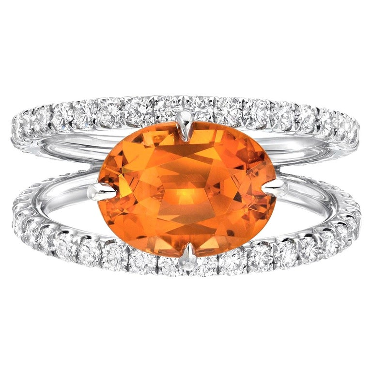 Mandarin Garnet Diamond Platinum Cocktail Ring For Sale