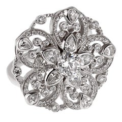 Chanel Diamond Flower Cocktail White Gold Ring