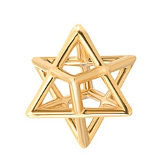 Merkaba Three Dimensional Star Yellow Gold Pendant Necklace