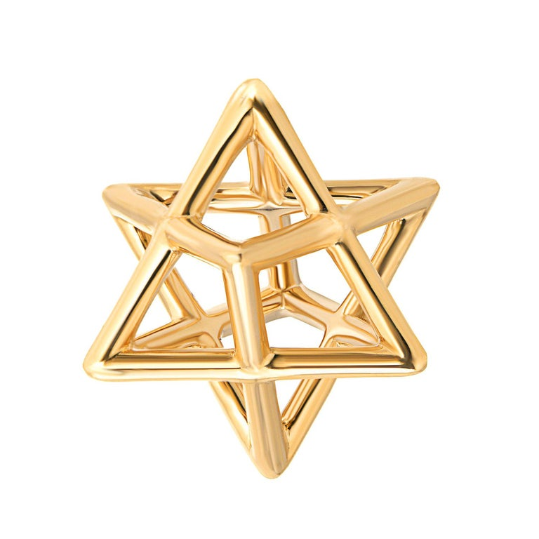 Merkaba Three Dimensional Star Yellow Gold Pendant Necklace For Sale