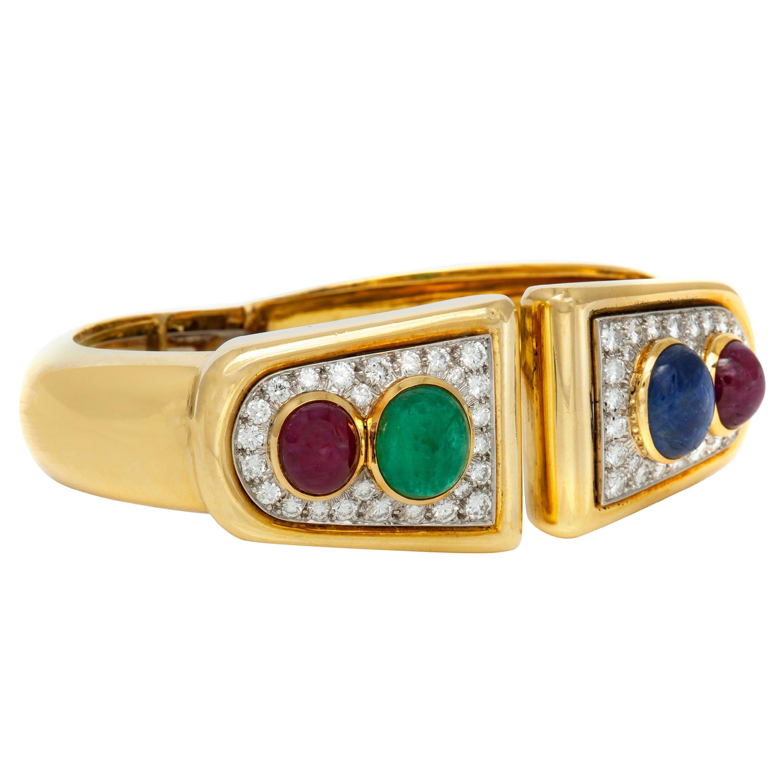 David Webb 18 Karat Diamond Ruby Sapphire Emerald Cuff Bracelet