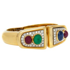 David Webb 18 Karat Diamond Ruby Sapphire Emerald Cuff Bracelet