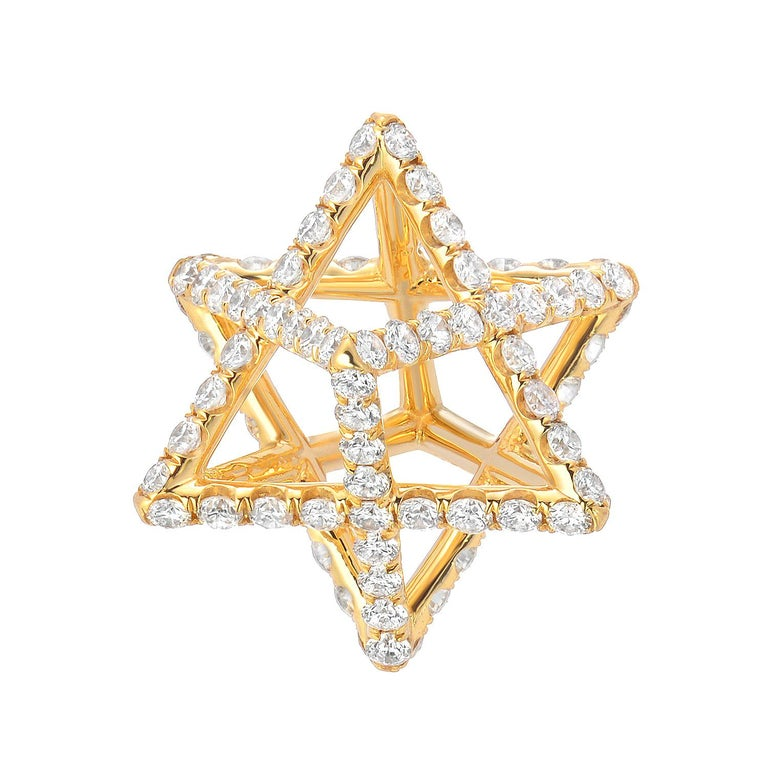 Star of David Merkaba Diamond Gold Geometric Pendant Necklace For Sale