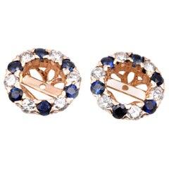 14 Karat Yellow Gold Diamond and Sapphire Earring Jackets