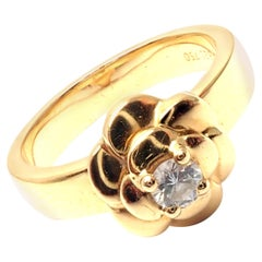 Chanel Diamond Camelia Camellia Flower Yellow Gold Band Ring