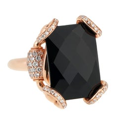 Gucci Horsebit Onyx Diamond Rose Gold Ring