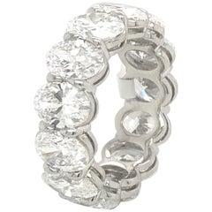 GIA Certified Oval Cut Eternity Wedding Band 9.25 Carats E-G VVS1-VS2 Platinum