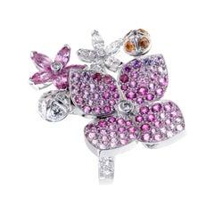 Van Cleef & Arpels Melia Pink Sapphire Diamond Floral Motif Ring