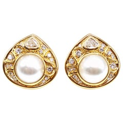 Marina B Diamond Pearl Teardrop 18 Karat Yellow Gold Ear Clips