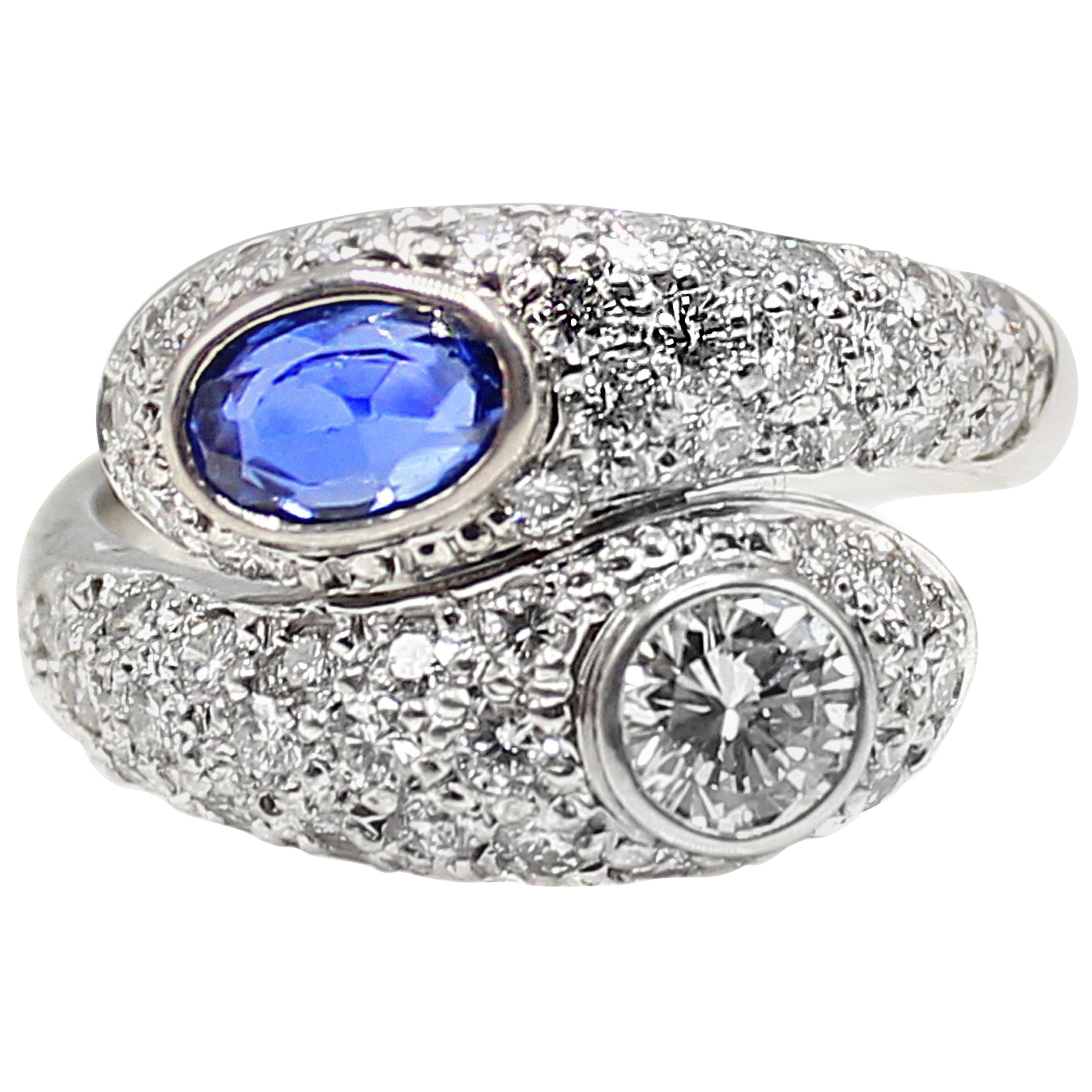 a7c0c2413 Tiffany and Co. 1950's Diamond, Sapphire and Platinum 'Moi et Toi' Ring at  1stdibs