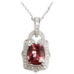 1.67 Carat Cushion Cut Raspberry Garnet and Diamond Pendant in 18 Karat Gold
