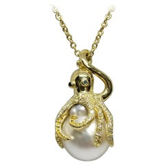 """18 Karat Yellow Gold Diamond and South Sea Pearl """"Octopus"""" Necklace"""