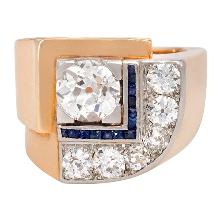 French Art Deco Gold, Diamond and Calibré Sapphire Ring of Geometric Motif