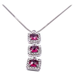 14 Karat White Gold Ruby and Diamond Necklace