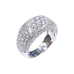 Cartier Nouvelle Vague White Gold and Diamond Pave Dome Ring