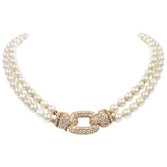 45258c917db8 Cartier Yellow Gold Diamond and Double Strand Pearl Necklace