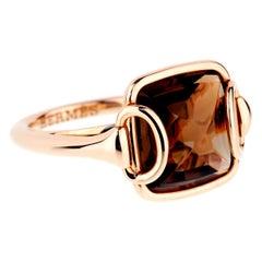 Hermes Deux Anneaux Smoky Quartz Rose Gold Ring