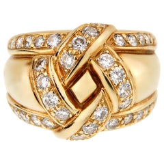 Christian Dior Vintage Diamond Gold Cocktail Ring