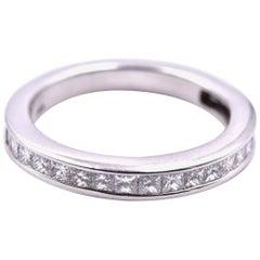14 Karat White Gold Princess Cut Channel Set 1.20 Carat Diamond Band