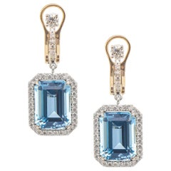 Aquamarine Platinum 8.77 Carat Emerald Cut with Diamond Halo Frame Drop Earrings