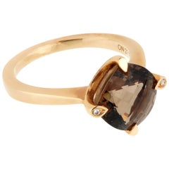 Cartier Smoky Quartz Diamond Cocktail Ring