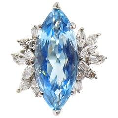 Marquis Aquamarine Diamond White Gold Cocktail Ring
